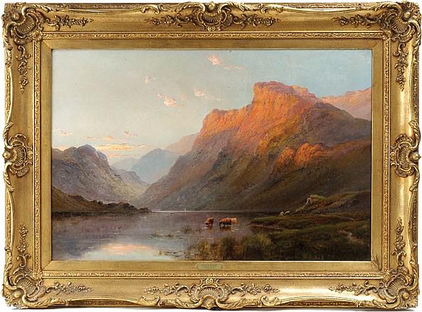Alfred de Breanski ( 1852 - 1928 ). Escuela inglesa. Evening near Inversnaid. Firmado. Óleo sobre lienzo. 59.5 x 90 cm.