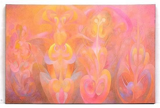 DIEGO GUZMÁN, El Jardín de Ariadna, Firmado. Óleo sobre tela, 99.5 x 150 cm, Con certificado de autenticidad.