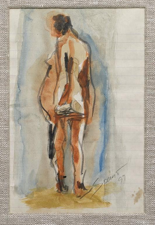 LUCIANO SPANÓ, Sin título, Firmada y fechada 97. Acuarela y grafito sobre papel, 21 x 14 cm