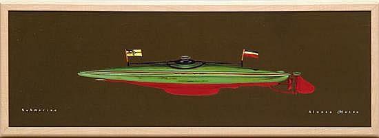 ALONSO MATEO, Submarino, Firmado. Acrílico sobre tela. 34.5 x 105 cm