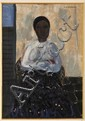 WALDEMAR SJÖLANDER, Sin título (Mujer con falda azul), Firmado. Óleo sobre tela, 71 x 49 cm