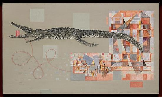 ELENA ARAUZ, El Diseñador, Firmado y fechado 08. Grafito y acrílico sobre madera, 70 x 120 cm, Con certificado de autenticidad.
