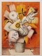 PILAR CASTAÑEDA, Florero, Firmada. Litografía P.A. 9 / 10, 68 x 48 cm