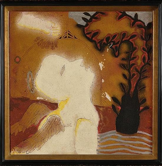 ALBERTO RAMÍREZ BARROSO, Cacahuates endiablados, Firmado A.R. y fechada 93 Óleo, pigmentos y arenas sobre tela, 90 x 90 cm