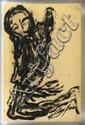 CHUCHO REYES, Cristo, Firmado y con sello de inventario al reverso. Témpera sobre papel de china, 76 x 49.5 cm