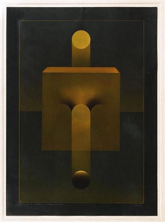 JULIO LE PARC, Theme 109 a variation, Firmado y fechado 1981. Acrílico sobre papel, 79 x 57.5 cm