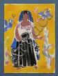 CARLOS MÉRIDA, Proyecto para vestuario femenino, Firmado. Grafito y gouache sobre papel, 18.5 x 13.5 cm, Con certificado.
