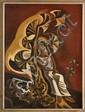 JOSÉ GARCÍA NAREZO, Niña sentada en el árbol de abanicos, Firmado y fechado 1969. Óleo sobre tela sobre masonite, 92.5 x 69.5 cm