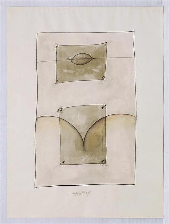 FREDERIC AMAT, Sin título, 1977, Firmado. Lápices de color, de grafito y tinta sobre papel., 76.2 x 56.3 cm, Con certificado.
