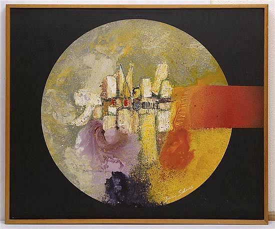 BARUJ SALINAS, Proyección esférica, Firmado al frente. Firmado en hebreo al reverso. Acrílico sobre tela, 106.5 x 127 cm