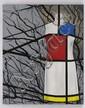 ODETTE PAZ, Hommage, de la serie Espectros, Firmado y fechado 2012. Acrílico y barniz fluorescente/ tela, 100 x 80cm Con certificado.