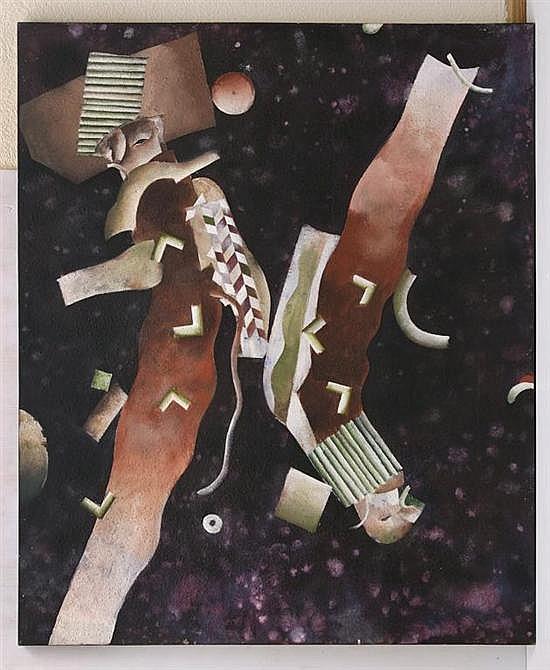 BRIAN NISSEN, Spacewalk, Firmado y fechado New York 1981 al reverso. Acrílico sobre tela, 147 x 122 cm