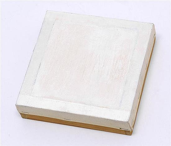 PERLA KRAUZE a) Huellas I. 20.1 x 20.1 x 5 cm, b) Luz I. 12.7 x 12.5 x 1.2 cm, Firmado 98 al reverso. Óleo / tela, PIEZAS: 2.