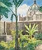 LEANRDO IZAGUIRRE, Cúpula de convento, Firmada, Acuarela sobre papel, 28 x 23 cm.
