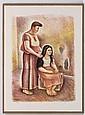 RAÚL ANGUIANO, El peinado, Firmada y fechada 89. Serigrafía 42 / 100, 81 x 58 cm