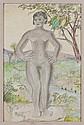 JOSÉ CHÁVEZ MORADO a) Modelo desnudo de frente b) Desnudo femenino, Lápices de color y grafito/ papel. Con certificados. Piezas: 2.
