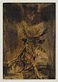 FRANCISCO CORZAS, Minotauro y murciélago, Firmada y fechada 61. Tinta y acuarela sobre papel, 27 x 18.5 cm