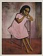 GUSTAVO MONTOYA, Niña de rosa, Firmada y fechada 85. Litografía 91 / 100, 76.5 x 56 cm