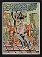LUIS GARCÍA GUERRERO, Personaje en el Jardín Unión, Guanajuato, Firmada y fechada 1951. Acuarela y tinta sobre papel, 35 x 25 cm