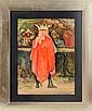 PABLO O' HIGGINS, Rey, Firmado y fechado 44. Tinta y gouache sobre papel, 54 x 40.5 cm