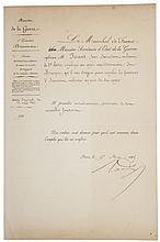Randon, Jacques Louis César (Ministro de Guerra, Francia). Nombramiento. París, 15 de Mayo de 1865. Firmado.