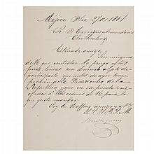 Juárez, Benito. Carta Dirigida al Coronel Enrique Armendáriz. Sobre la posesión de la Presidencia de la República. Méjico, 27-12-1867.