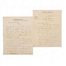 Vasconcelos, José. Cartas autógrafas, al Sr. José Castanedo Cal... París Abril 9/931 y San Antonio, Texas Nov. 18/936. Piezas: 2.