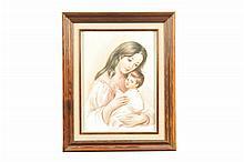 Firma ilegible. Maternidad. Óleo sobre placa de porcelana. Enmarcada. Firmada.