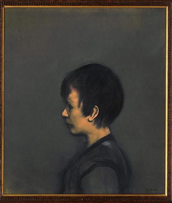 RAFAEL CORONEL, Adolecente [sic], Firmado. Óleo sobre tela, 81.5 x 70 cm Con dedicatoria al reverso.