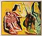 GILBERTO ACEVES NAVARRO, Atrapado en un campo amarillo, Firmado y fechado 97. Óleo sobre tela. 100 x 120 cm