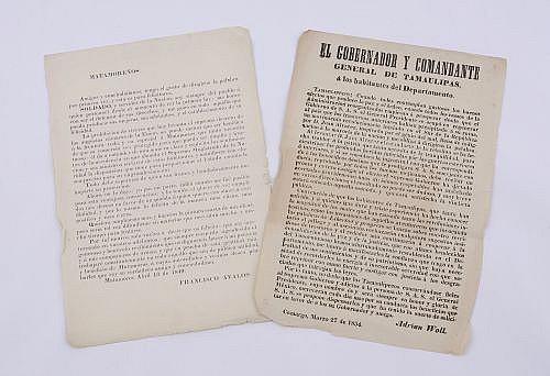 Avalos, Francisco. / Woll, Adrián. Manifiestos. Matamoros Abril 13 de 1849. / Camargo, Marzo 27 de 1854.  Total de piezas:2.