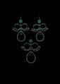 PENDIENTE Y PAR DE ARETES CON DIAMANTES EN ORO AMARILLO DE 10K Y VISTAS EN PLATA. 82 Diamantes corte facetado y 3 perlas cultivadas.