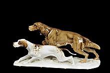 Canes. Origen alemán. Elaborados en porcelana Hutschenreuther, acabado brillante. Sellado en base.