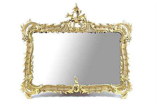 Espejo estilo rococ con marco de madera tallada y dorada for Espejos con marco de madera decorados