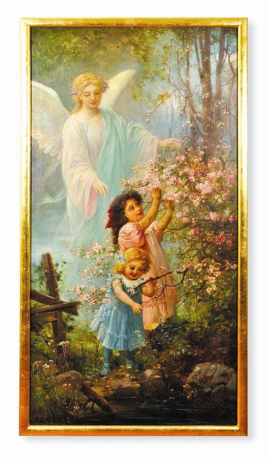 Hans Zatzka (1859 - 1945)* Infancia / Juventud / Vejez Escuela austriaca Firmados, fechado 1910. Óleo sobre lienzo.