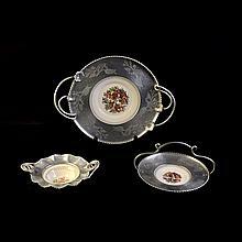 Lote de platones. Origen americano. Siglo XX. Elaborados en semi porcelana. Diferentes diseños. Decorados con motivos florales