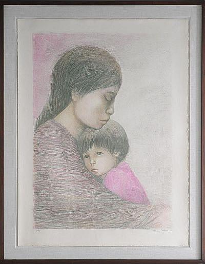 Fanny Rabel. (Polonia 1922 - 2008). La Madre. Firmada. Litografía. P / T. Enmarcada Dimensiones: 70 x 40 cm.