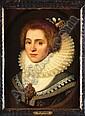 Círculo de Michiel Janz van Miereveldt (1567 - 1641). Escuela flamenca. Retrato de dama con gola y perlas. Óleo sobre tablero., Michiel Jansz. Miereveld, Click for value