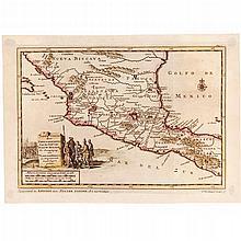 PIETER VAN DER AA. LAND TOGTEN DOOR FERDINAND CORTES AAN DE GOLF VAN NIEUW SPANJE, TER BEMAGTIGING VAN TLASCALE MEXICO...