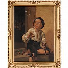 PAR DE INFANTES MÉXICO, SIGLO XX. Óleo sobre tela. Detalles de conservación y estructura. Dimensiones: 54 x 41 cm, cada uno.