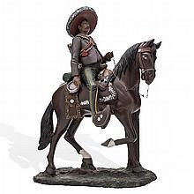ILDEFONSO GOCHE (MÉXICO, SIGLO XX) EMILIANO ZAPATA A CABALLO. Modelado en arcilla, Dimensión: 33.5 cm de altura.