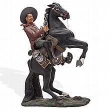 ILDEFONSO GOCHE (MÉXICO, SIGLO XX) FRANCISCO VILLA A CABALLO. Modelado en arcilla,  Dimensión: 35 cm de altura.