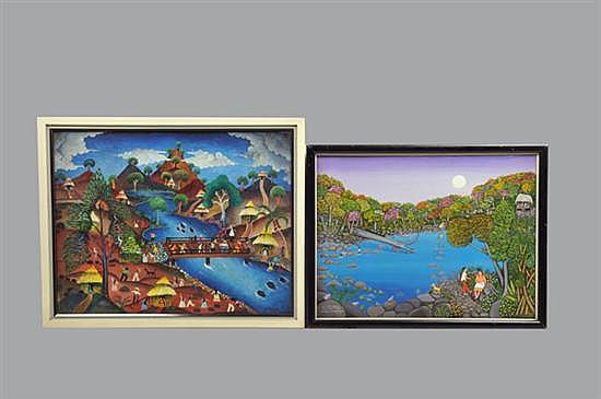 2 Obras pictóricas. Óleos sobre lienzo. Consta de: Firmado Medina. Sin título (Playa con puente). b) Hilda Vogil. Queremos paz.