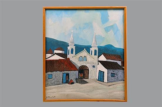 Gilberto Almeida. Sin título (Iglesia). Acrílico sobre madera. Enmarcado, firmado y sin fechar. Dimensiones: 70 x 60 cm.