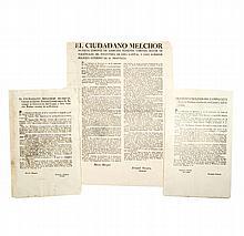 Molinos del Campo, Francisco / Múzquiz, Melchor. Bandos. México: 1823 - 1824. Piezas: 3.