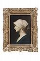 JEAN JACQUES HENNER (FRANCIA, 1829 - 1905). RETRATO DE DAMA. Óleo sobre tela. Firmado. 33 x 23.5 cm.