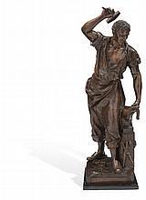 HERRERO MÉXICO, SIGLO XX. Fundición en bronce patinado en base de mármol.  Firmado Vergnano Faltantes en la base. Dimensio...