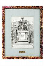 Escuela Francesa del Siglo XIX. Tumba para un Militar Caído en la Batalla de Puebla. Dibujo a pluma. Enmarcado.