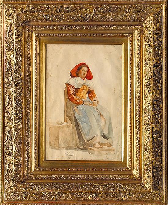 José Salomé de Pina (1830 – 1909). Campesina. Origen mexicano. Firmado y referido Roma. Acuarela sobre papel. 41 x 27 cm.