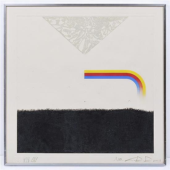 ISMAEL GUARDADO, Galiagráfica # 10 PG, Firmada y fechada 79. Serigrafía e intaglio 4 / 10, 49 x 48.5 cm